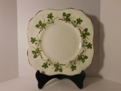 Vintage Arklow Fine Irish Bone China Square Plate With Leaves And Gold Trim 9