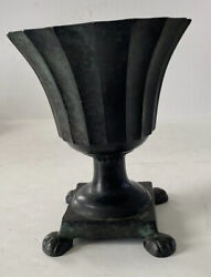 Vintage Green Cast Iron Fluted Urn With Claw Effect Feet Dept 56 Made In India