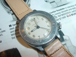 Vintage Longines Weems Raf 1940and039s Ss Pilot Mens Watch [rare 16 Jewel 12l]