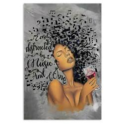 African American Girl Poster, Easily Distracted By Music And Wine Print Artwork