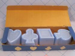 Vtg Blue Plastic Jello Mold/cookie Cutters Box Set Spade Club Playing Cards 1950