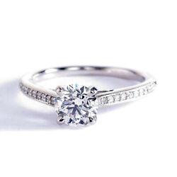 1.15 Ct Si2 F French Pave Round Brilliant Diamond Engagement Ring 18k White Gold