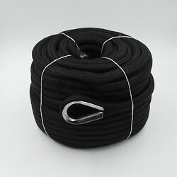 5/8andprime X 150andprime Anchor Line Black Double Braid Nylon Rope W/ Stainless Steel Thimble