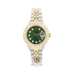 Rolex Datejust 26mm Two Tone Gold/steel Green Diamond Dial 1.50ct