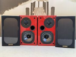 Usher Model S-520 Speakers. Piano Gloss Red Great Working Condition