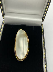 Elegant Naturalistic Large Mabe Pearl Blister Peart In 9ct Gold Brooch Antique