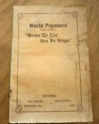 Down To The Sea In Ships Movie Premiere Playbill Booklet 1922 20 Whaling Antique