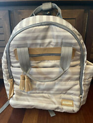 Skip Hop Backpack Diaper Bag Gray White Stripes Tan Tassel Accents Changing Pad $29.80