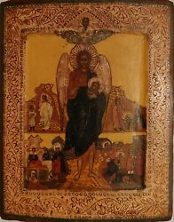 Antique 19c Hand Painted Russian Icon Of The John Baptist In Life
