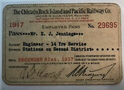The Chicago Rock Island And Pacific Railway Co 1917 Pass Engineer 14 Yrs Serv