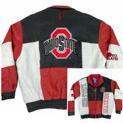 Rare Vintage 90s Pro Player Genuine Leather Ohio State Embroidered Jacket Xl