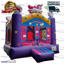 13x13ft Commercial Inflatable Unicorn Bounce House Moonwalk With Air Blower
