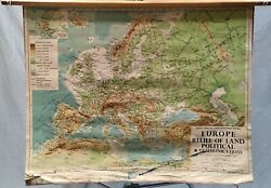 8 Vintage Philips Comparative Wall Maps Of Europe