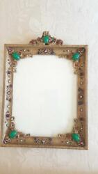 Antique Jeweled Apollo Studios Lrg. 14x10 Picture Frame Sold As Is