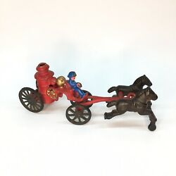 Vintage Toy 1940s Cast Iron Fire Wagon W/ Driver And Horses / Fire Truck Carriage