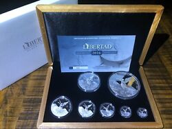 Rare 2016 7 Coin Libertad Silver Proof Set Low W/ Coa. Low Mintage Only 250