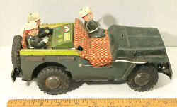 Vintage 1950s Colorful Japan Military Jeep Tin Friction M.p. Soldiers Toy Parts
