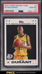 2007 Topps Basketball Kevin Durant Rookie Rc 2 Psa 10 Gem Mint