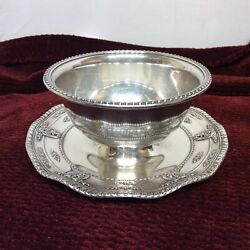 Ruffled Gravy Boat W/ Attached Underplate Rose Point Sterling Hollowware