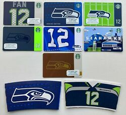Lot Of 7 Starbucks Seattle Seahawks Gift Cards + 2 Cup Holder Sleeves - Limited