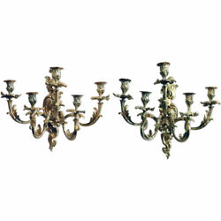 Pair Antique French Louis Xv Revival Gilt Bronze Wall Sconces 19th Century