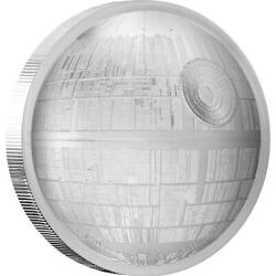 Star Wars Death Star 2018 2 Oz 5 Ultra High Relief Silver Proof Niue Box And Coa