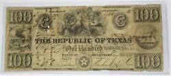 1839 100 Republic Of Texas Redback One Hundred Dollar Note Bill Currency 27016f