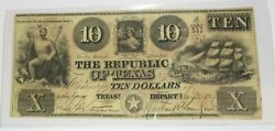 1840 10 Republic Of Texas Red Back Ten Dollar Note Bill Currency Item27021f