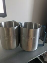 Two Silver Metal Absolute Mule Vodka Glasses With Blue Metal Handle
