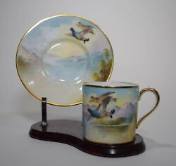 Hand Painted Minton Demitasse Cup And Saucer