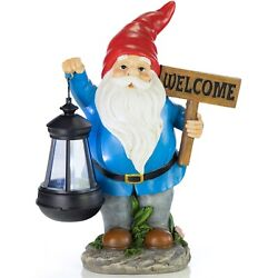 Vp Home Welcome Gnome With Lantern Solar Powered Led Garden Light Red Hat