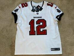 Tom Brady Tampa Bay Buccaneers Elite Authentic White Jersey Super Bowl Size 52