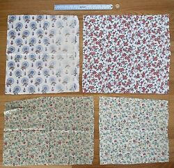 Lot Of 4 Vintage Cotton Feedsack Fabrics - Floral And Flower Pots
