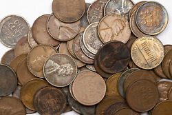 Wheat Penny Lot Of 71 Mixed Dates | Some Toned And Problem Coins | Some Memorial