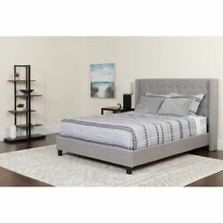 Riverdale Queen Size Tufted Upholstered Platform Bed In Light Gray Fabric W/pock