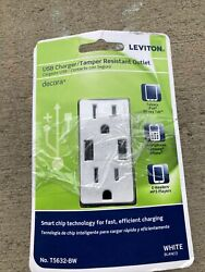 New Leviton Decora Usb Charger/tamper Resistant 15a Outlet - T5632-bw 3859