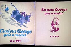 1957 Curious George Gets A Medal 1st Edition 2nd Print W/dust Jacket Very Rare