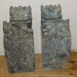 Pair Antique Hand Carved Stone Chinese Foo Dog Bookends Figurines Statues