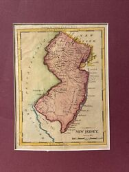 Antique Thomas And Andrews Colored Map Of New Jersey