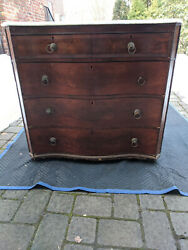 Flame Mahogany Serpentine Dresser With Marble Top