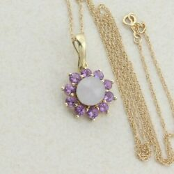 10k Yellow Gold Natural Purple Lavender Jade And Amethyst Necklace Enhancer Pendnt