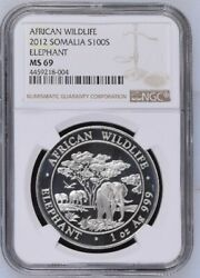Somalia 2012 100 Shillings Silver Coin African Wildlife Elephant Ms69 Ngcandnbsp