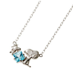 Peanuts Snoopy And Woodstock W/square Blue Topaz Pendant White Gold Chain Necklace