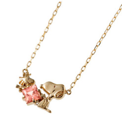 Peanuts Snoopyandwoodstock Square Peach Topaz Friendly Pendant Gold Chain Necklace