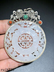 Infrequent China Sterling Silver Manual Set Nephrite Gemstone Pendant