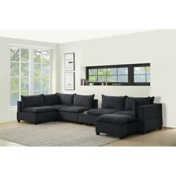 Bowery Hill 7 Piece Sectional With Down And Usb Storage In Dark Gray