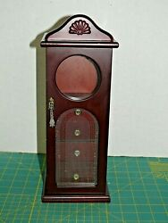 1996 Avon Wooden Jewelry Box Cabinet Organizer Chest With 4 Drawers Glass Door