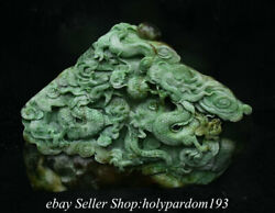 12 Chinese Natural Green Dushan Jade Carving Fengshui Double Dragon Statue
