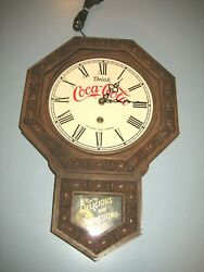 Vintage Drink Coca-cola Mirro- Products Company Antique Style Wall Clock As-is