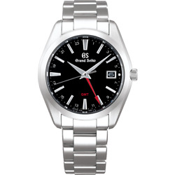 Grand Seiko Heritage Collection Sbgn013 Gmt Watch 9f86 Black Dial Menand039s